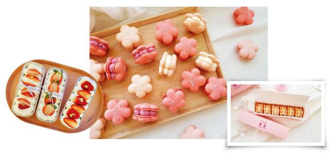 또 다른 인기 메뉴인 딸기 요구르트 티라미수, '두근두근테이블'의 꽃 같은 매화 마카롱, 곱게 포장한 매화 마카롱 선물세트. (왼쪽부터) [사진 제공 · 김민경]