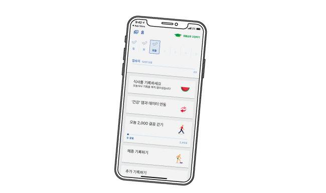 식단 기록 앱의 일종인 '눔 코치'는 사용자가 직접 모바일로 식단, 운동량, 체중 등을 기록하면 자동으로 섭취 칼로리와 소모 칼로리를 계산하고 식습관 개선 방법도 코치해준다. [눔 코치 화면 캡처]