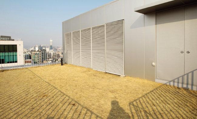 태양 고도를 측정하는 센서가 장착돼 있는 옥상. 또 잔디를 깔아 여름엔 열기를 차단하고 겨울엔 단열 효과가 발생한다. [지호영 기자]