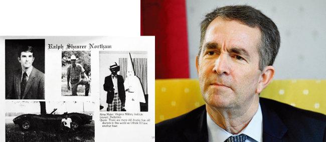 대학 졸업앨범에 흑인을 조롱하는 사진(왼쪽)을 실었음이 35년 만에 드러나 사퇴 위기에 몰린 랠프 노덤 미국 버지니아주 주지사. [The Virginian-Post, AP=뉴시스]