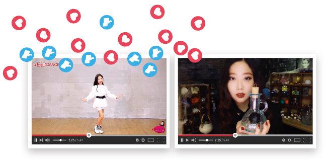 띠예와 동년배인 케이팝 댄스 커버 유튜버 어썸하은(왼쪽)과 ASMR 콘텐츠를 만드는 유튜버 다나.
