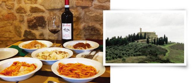 이탈리아 몬탈치노의 다양한 파스타와 로소 디 몬탈치노 와인. (왼쪽) 언덕 위에 우뚝 선 카스텔로 반피 고성. [사진 제공 · 김상미]