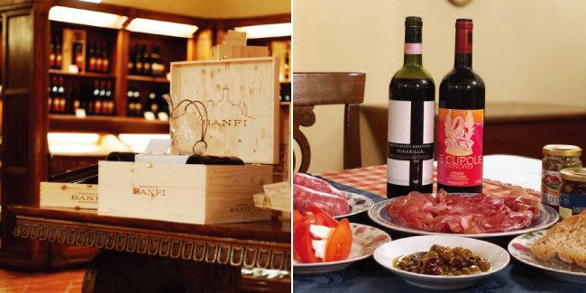 반피의 와인숍. (왼쪽) 슈퍼마켓에서 구매한 다양한 식재료와 슈퍼투스칸 와인들. [사진 제공 · 최장근, 사진 제공 · 김상미]