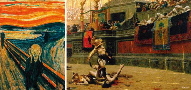 노르웨이 화가 뭉크의 '절규(1893·왼쪽)와 로마시대 콜로세움의 검투사와 관중을 그린 프랑스 화가 장 레옹 제롬의 '폴리케 베르소(1872)'. 뭉크의 그림이 '고통은 말할 수 없다'는 주제를 형상화했다면, 제롬의 그림은 관종(노예상인)에게 끌려와 누구의 고통이 더 끔찍한지 경쟁을 펼쳐야 하는 고통의 당사자(검투사), 그리고 이를 일상적 유희로 즐기는 관중(대중)으로 이뤄진 고통의 콜로세움을 형상화한다. 폴리케 베르소는 라틴어로 '뒤집힌 엄지'란 뜻으로 패배한 검투사를 죽이라는 의미다. [위키피디아]