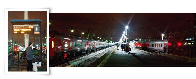 모스크바발(發) 시베리아횡단열차는 야로슬라브역에서 출발한다. 3번 플랫폼에 0시 35분 모스크바발 블라디보스토크행 100번 열차가 출발한다고 표시돼 있다.