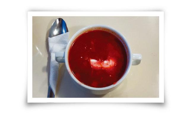 식당칸에서는 러시아 전통 수프 보르시를 맛볼 수 있다.