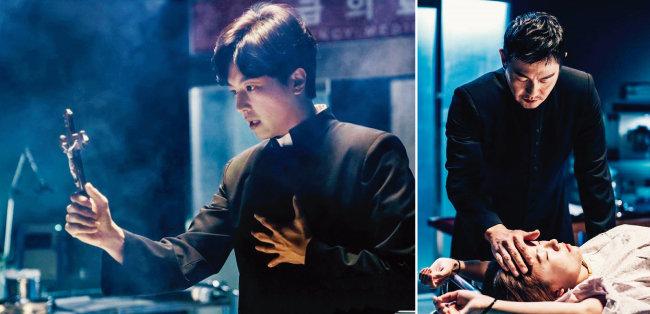 OCN 드라마 '프리스트'에서 오수민 신부(연우진 분 · 왼쪽)와 문기선 신부(박용우 분 )는 구마 의식을 거행하며 악마 와 사투를 벌인다. [사진 제공 · OCN]
