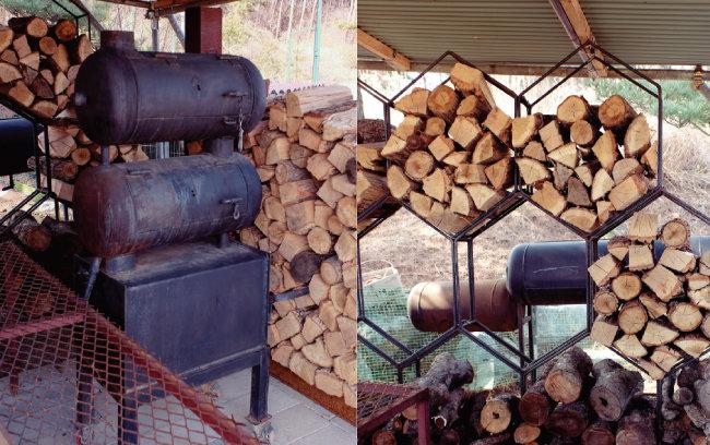황준성 셰프가 직접 만들어 사용하던 바비큐 통(왼쪽)과 바비큐를 만들 때 사용하는 땔감용 참나무와 사과나무. [사진 제공·김민경]
