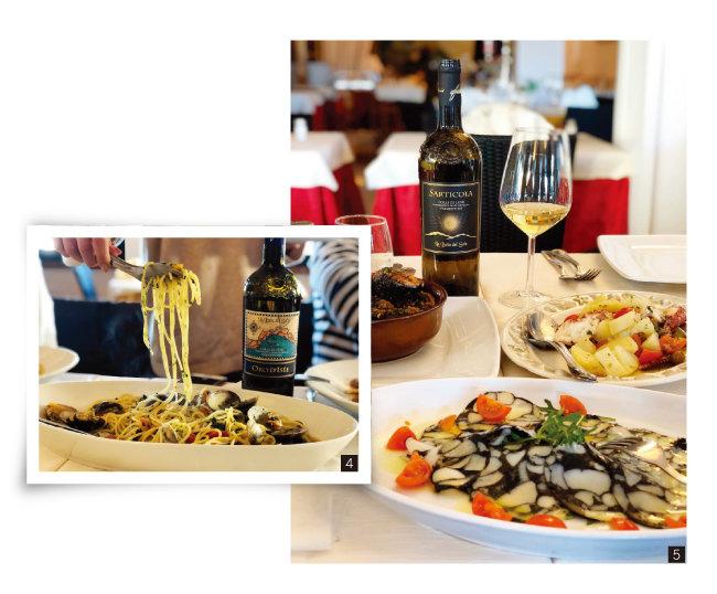 4 봉골레 스파게티와 오로 디제 와인. 5  해산물 전채요리와 사르티콜라 와인. [사진 제공 · 김상미]