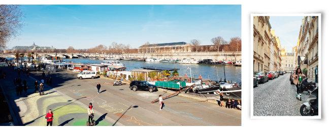 일요일 오후 파리 센강변에는 걷거나 자동차, 전동킥보드 등을 타는 사람들로 붐볐다(왼쪽). 최근 파리 사람들이 애용하고 있는 공유 전동킥보드 '라임'은 여행자도 쉽게 빌릴 수 있다.