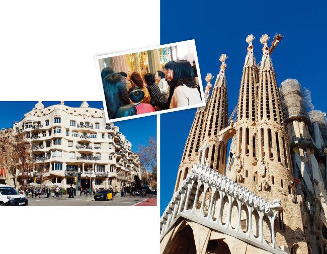 바르셀로나를 대표하는 천재 건축가 가우디가 설계한 카사 밀라(왼쪽)와 사그리다 파밀리아 성당. 음악과 함께하는 가우디 가이드 투어는 꽤 만족스러웠다(가운데).