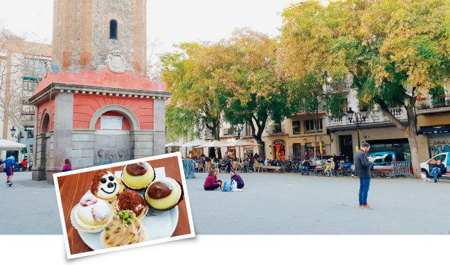 바르셀로나 숙소 근처의 그라시아 광장(위)과 로마 티부르티나역 인근 동네 카페에서 맛본 쿠키. 로마 시내와 30분가량 떨어진 이 동네의 카페들은 커피 한 잔 값으로 0.9유로 혹은 1유로를 받았다(아래).