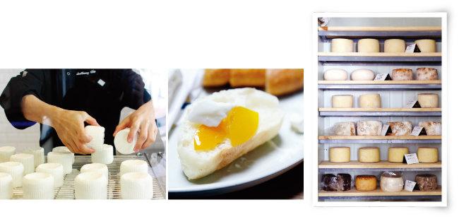 생크림이 들어가 부드러운 트리플 크림 브리 치즈, 베이비 체다로 불리는 프레시 치즈.  금귤 잼에 곁들였다, '치즈플로'의 숙성실. (왼쪽부터) [사진 제공·치즈플로]