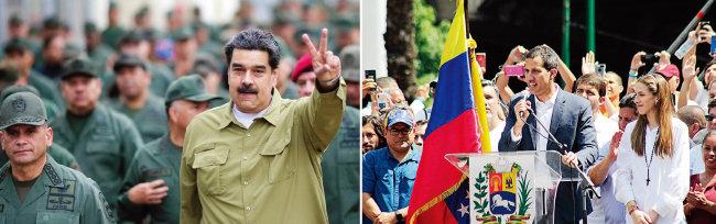니콜라스 마두로 베네수엘라 대통령이 군부 지도부와 함께 걸어가면서 손으로 V자를 그리고 있다(왼쪽). 후안 과이도 베네수엘라 국회의장(가운데)이 니콜라스 마두로 대통령의 퇴진을 요구하고 있다. [베네수엘라 대통령궁, 위키피디아]
