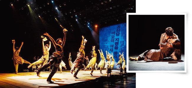무대 위로 올린 400석 규모의 '나비석'에서 바라본 배우들의 역동적 연기(왼쪽). 극의 처음과 끝을 수미쌍관으로 장식하는 여옥과 대치의 최후 장면. [수키컴퍼니]