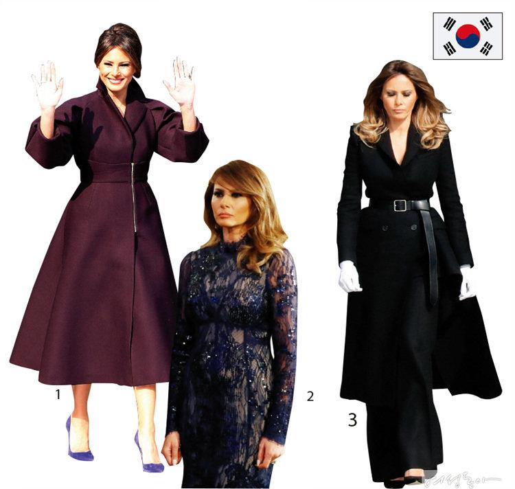 1 한복을 연상시키는 우아한 실루엣의 코트 스타일 원피스는 스페인 브랜드 '델포조' 2017 F/W 컬렉션 제품 약 4백만원. 프랑스 브랜드 크리스찬 루부탱의 스웨이드 스틸레토 힐 약 65만원.  2 화려한 시스루 드레스는 프랑스 브랜드 제이 멘델의 2017 가을 컬렉션  약 1천2백만원.   3 밑단의 언밸런스한 디자인이 돋보이는 더블 버튼 코트는 영국 출신 디자이너 브랜드 알렉산더 맥퀸 제품으로  약 5백만원.