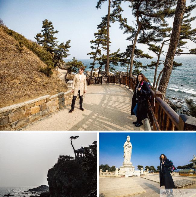 절벽 위 의상대와 바닷바람 맞으며 서 있는 한 그루 소나무. 단 하나의 양양 풍경으로 주저 없이 고를 수 있다.