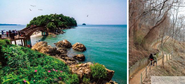 개미허리 아치교(왼쪽),구봉도 해솔길.