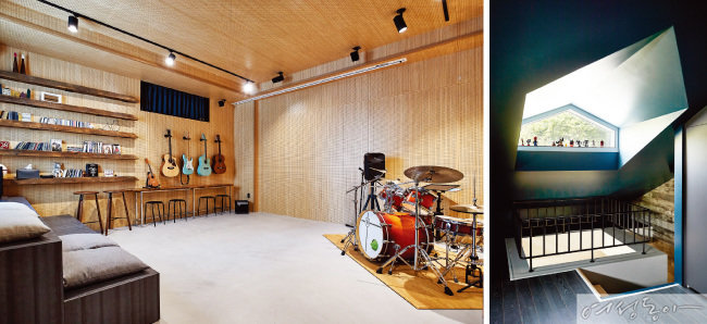 지하에는 드럼이나 기타를 연주하고, 노래도 부르고, 영화도 볼 수 있는 멀티룸을 꾸며놓았다. 손님들이 집에 오면 가장 좋아하는 곳이다.(왼쪽) 아들의 다락방에는 곳곳에 창을 내 햇살이 한가득 들어온다.