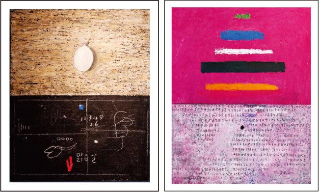 Untitled, 73×51㎝, Mixed Media, 2015(오세열)(왼쪽) Untitled, 90×72.7㎝, Mixed Media, 2018(오세열)