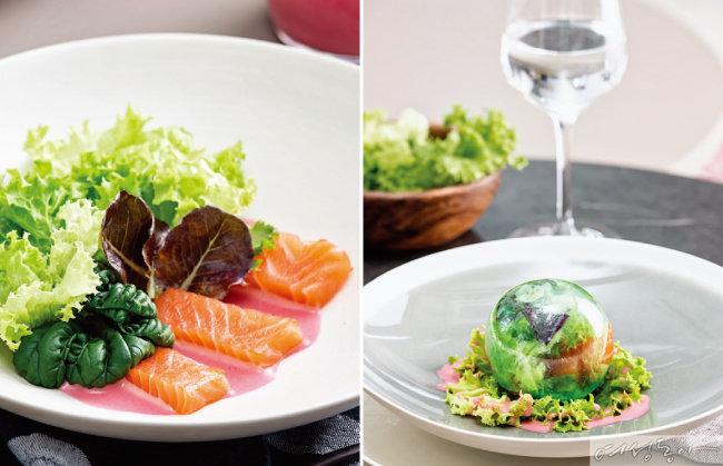 웰빙 채소 연어샐러드.(왼쪽), 설탕으로 만든 구슬 안에 샐러드를 넣어 예술 작품 같은 창작 요리를 완성했다.