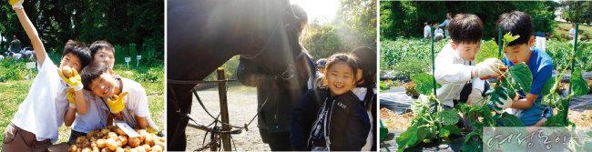 자연과 호흡하며 영어를 놀이처럼 배우는 에더블국제학교 재학생들.