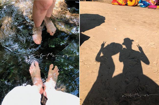 무창포 해변에서 부부의 그림자 셀카와 송광사 계곡에 발을 담근 부부.