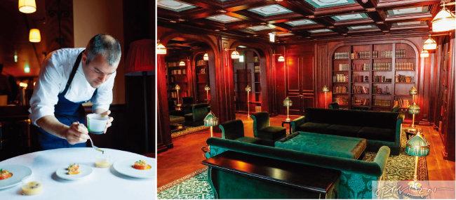 세계적인 셰프 아브람 비셀이 라망 시크레에서 플레이팅을 시연 중이다. (왼쪽) 레스케이프 호텔의 라이브러리.