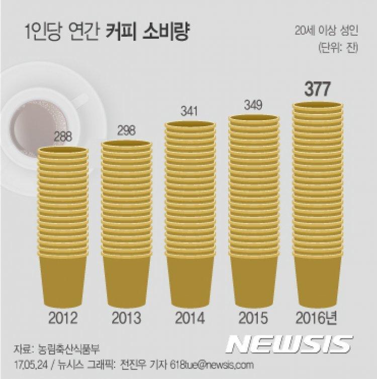 1인당 커피소비량 377잔… 4.9조원 2년새 30%↑