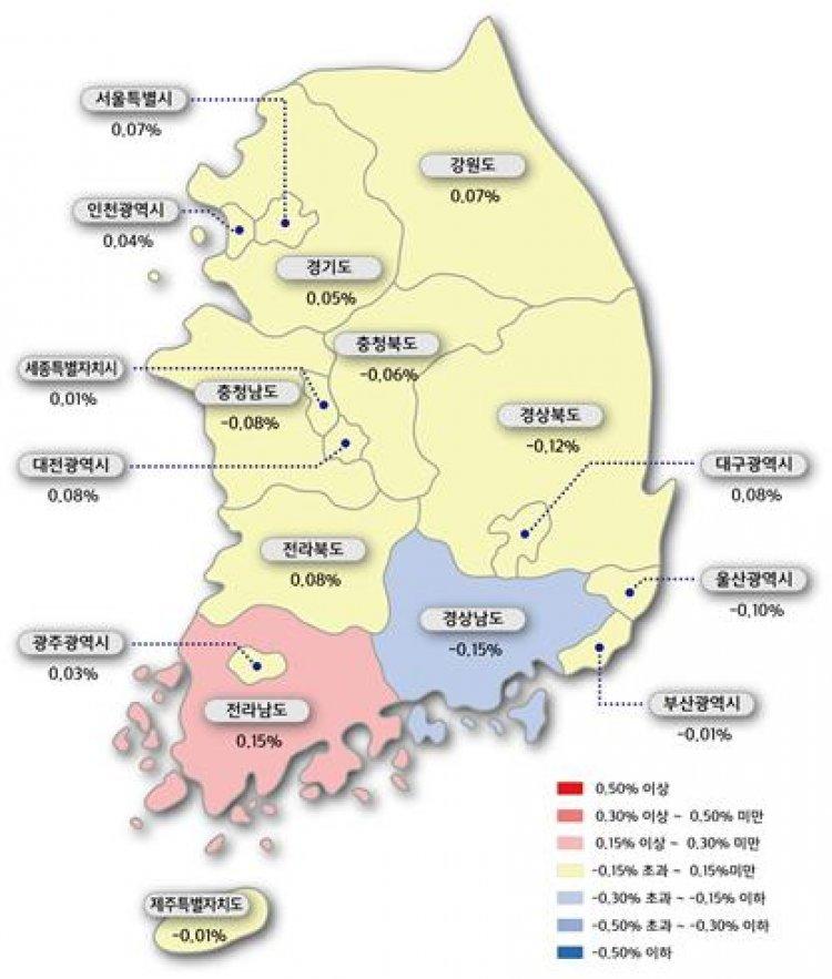 서울 아파트값 0.07% ↑…강남 재건축 상승폭 둔화