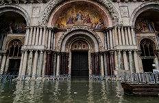 물바다된 산마르코 성당'수상도시' 베네치아, 폭우로 침수