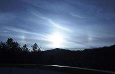 경남 거창서 태양 3개로보이는 '환일현상' 포착