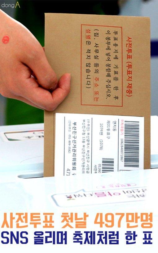 [카드뉴스]사전투표 첫날 497만명…SNS 올리며 축제처럼 한 표