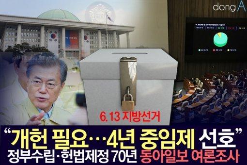 """[카드뉴스]""""개헌 필요…4년 중임제 선호"""" 동아일보 여론조사"""