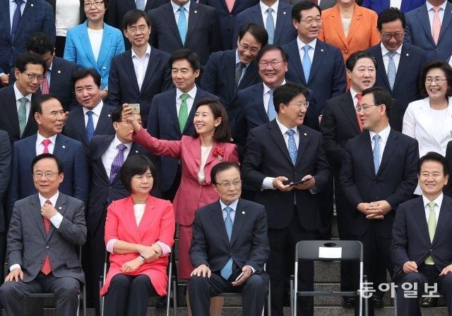 [청계천 옆 사진관]'협치' 구호 외치며…국회의원 단체 기념촬영 하던 날