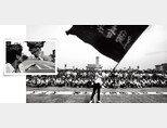 1989년 6월 4일 인민해방군에 맞서 싸우면서 불길이 치솟고 있는 곳을 가리키는 베이징 시민(위)과 톈안먼 광장 시위대 앞에서 깃발을 흔드는 여대생. [Robert Croma]
