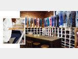 미국 뉴욕의 '룰루레몬' 플래그십 스토어 내부(오른쪽)와 레깅스를 출근 복장으로 연출한 '안다르' 제품. [사진 제공 · 안다르, 뉴시스]