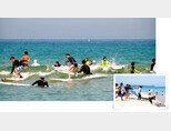 서핑 전용 해변인 강원 양양군 서피비치에서  피서객들이 서핑을 즐기고 있다. 서피비치는 국내 최초 서핑 전용 해변으로 최근 해양수산부가 추천한  10대 바다여행지로 선정됐다. [뉴스1]