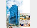 서울시 제2핀테크랩이 입주한 위워크 여의도역점은 서울 영등포구 여의도역 인근 HP빌딩 내 위치한다. 서울 영등포구 위워크 여의도역점의 내부 모습(오른쪽). [사진 제공 · 서울시, 위워크코리아]