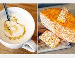 산뜻한 맛이 좋은 염소젖 요구르트(왼쪽). 노란색과 흰색이 뒤섞인 독특한 체더치즈. [사진 제공·김민경]