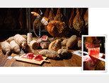다산 버크셔로 만드는 다양한 육가공품(왼쪽).하몽은 얇게 썰어  즐긴다. [사진 제공·다산육종]