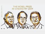 2019년 노벨화학상 수상자. 왼쪽부터 존 B 구디너프, 스탠리 위팅엄, 요시노 아키라. [ƒ노벨미디어]