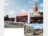 대만의 108번째 독립기념일인 10월 10일 타이베이 총통부 앞에서 열린 쌍십절 행사(위)에서 오토바이를 타고 의장대 사열을 하고 있는 대만 경찰. [뉴시스, 허문명 기자]