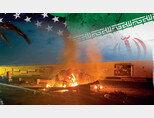 이라크 총리실이 공개한 사진으로, 1월 3일 새벽 이라크 바그다드국제공항에서 가셈 솔레이마니가 탔던 차량이 미군의 공습으로 불타고 있다. [바그다드=AP/뉴시스]