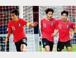 원두재가 1월 15일 오후 태국 방콕 탐마삿 스타디움에서 열린 '2020 AFC U-23 챔피언십' 우즈베키스탄과 조별리그 3차전에서 드리블을 하고 있다(왼쪽).  이동경(왼쪽)이 22일 오후 호주와 4강전에서 추가 득점에 성공한 뒤 이동준과기쁨을 나누고 있다. [뉴스1]