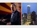마이클 블룸버그 전 뉴욕시장이 지지자들에 연설하고 있다(왼쪽). 미국 뉴욕 렉싱턴 애비뉴에 있는 블룸버그타워. [flickrs, vornado rt]
