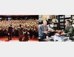 지난해 8월 28일 제1해병사단 '도솔관'에서 이뤄진 '수양 북콘서트'(왼쪽). 4월 27일 이국노 이사장(왼쪽)과 이영훈 예비역 병장이 '수양'을 주제로 대화하고 있다. [구자홍 기자]