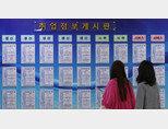 경기 안산시 안산일자리센터에서 청년 구직자들이 벽에 걸린 채용 공고를 살펴보고 있다.