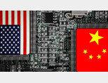 미국과 중국의 기술 패권 경쟁을 상징하는 일러스트레이션. [Nikkei]