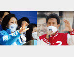 4·7 서울시장 보궐선거 유세를 하고 있는 더불어민주당 박영선 후보(왼쪽)와  국민의힘 오세훈 후보. [동아DB]